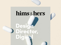 New Job: Hims & Hers medication wellness health pills branding web 3d animation