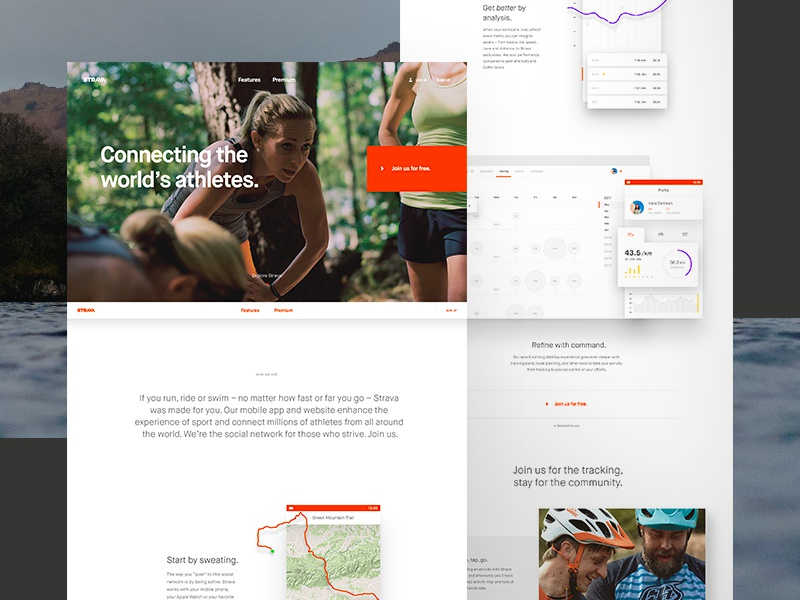 Strava Homepage Full Comp sport athlete longscroll depth headline scroll app photography charts map interactive strava