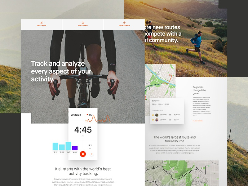 Dribbble strava features design