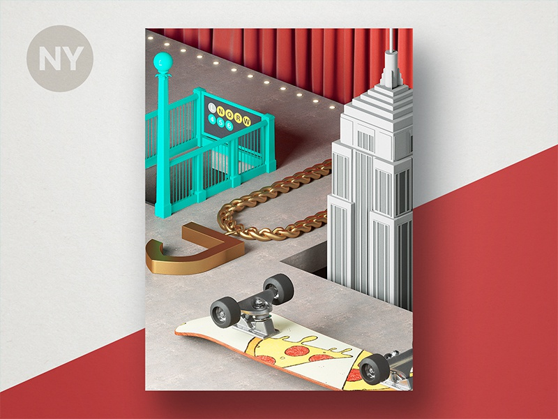 Jetty State Scene: NY building skateboard chain subway theme still life scene nyc new york diorama 3d