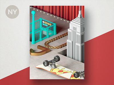 Jetty State Scene: NY building skateboard chain subway theme still life scene nyc new york diorama 3d