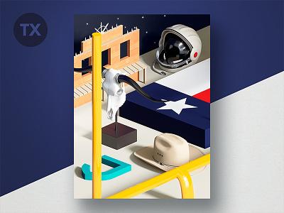 Jetty State Scene: TX football longhorn skull flag nasa theme still life scene tx texas diorama 3d
