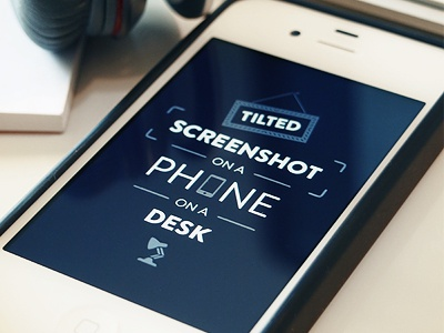 Tilted Screenshot on a Phone on a Desk typography phone screenshot icons