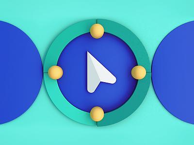 Seeking Designers at Jetty abstract hiring scene nautical blocks illustration navigation compass 3d