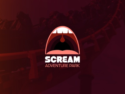 SCREAM Theme Park Logo red logodesign identity branding mouth rollercoaster halloween theme park scream design logo