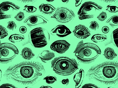 Eye See You - Weekly Warm Up branding identity design identity optometrist optometry halloween creepy spooky etching drawing eyeball eye vintage collage illustration pattern surface pattern pattern design