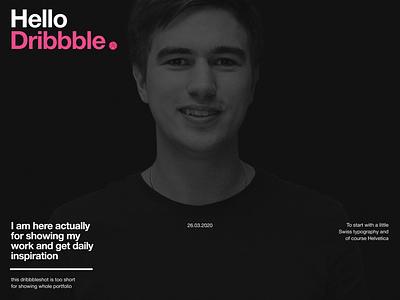 Hello Dribbble web swiss helvetica typography ui design