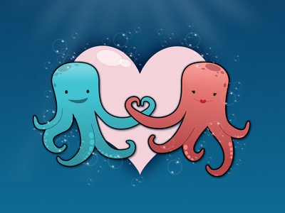 OctoLove illustration cartoon vector