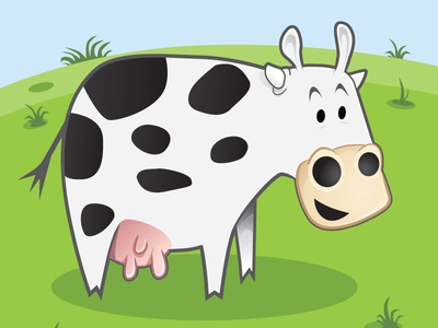 Happy Go Cow illustration cartoon vector