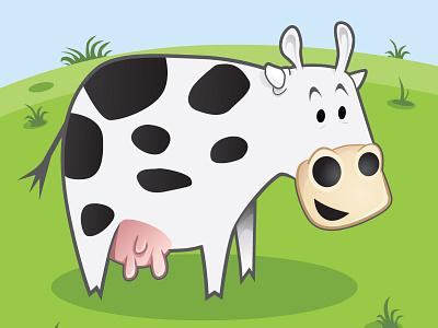 Happy Go Cow illustration cartoon vector