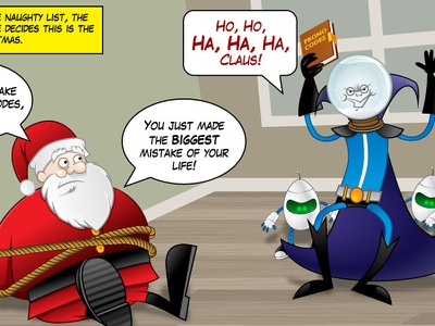Fingerhut® Santa Super Savers illustration cartoon vector