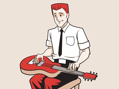 HepCat Steel Guitars rgb cmyk lapsteel guitar rockabilly vintage retro illustration cartoon vector