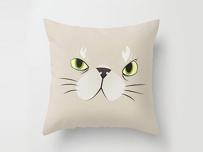 Kitty! fun animals pets cute pillow illustration cartoon vector
