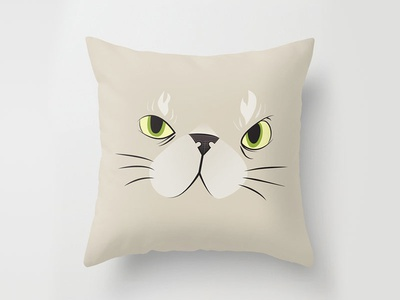 Kitty! fun animals pets cute pillow illustration cartoon vector
