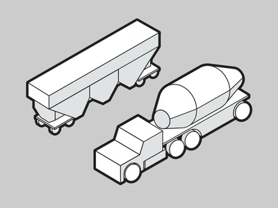 Trains and Trucks illustration cartoon vector