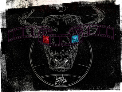 Bull Illustration film reel bull 3d movie design typography illustration