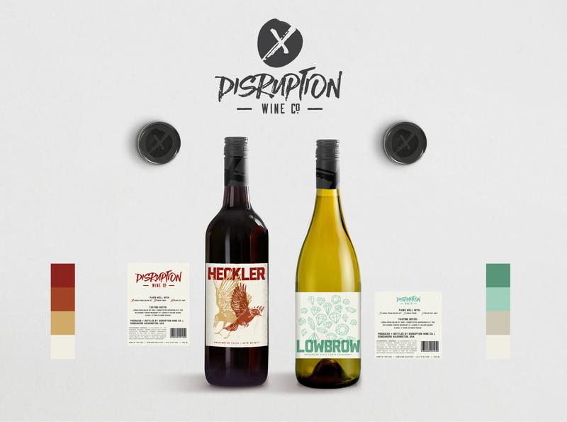 Disruption Wine Co. logo screen printing branding typography design texture illustration package design