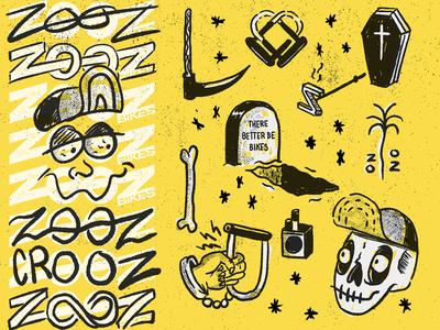ZOOZ BIKE white black yellow halftone grit texture gang bikes branding skulls sketch doodles applepencil procreate illustraion