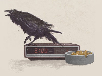 Drunk Again digital art painting bird drunk clock raven art digital painting texture applepencil procreate illustration