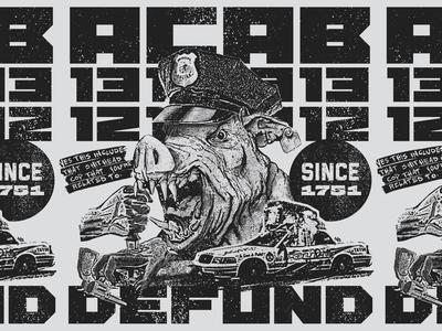 DEFUND texture xerox illustartion graphic design fuck12 pig defund 1312 acab