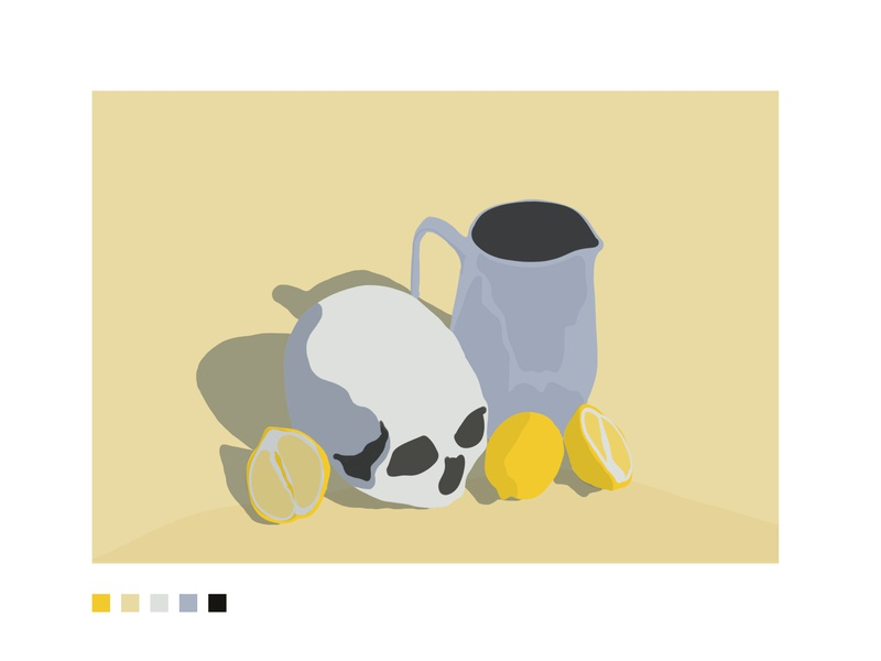 Life and Lemonade life lemon skull color blocking still life 2d minimal illustration