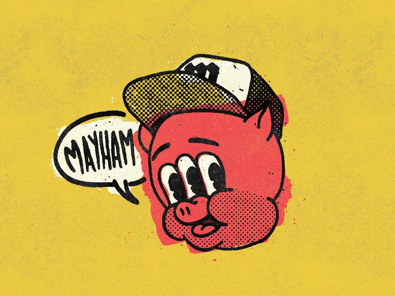 Mayham design screenprinting pig texture mayhem cartoon comic black yellow pink type 2d illustration