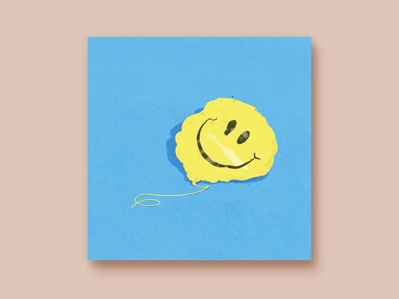 never the same digital illustration texture design digital album happy delfated balloon blue yellow 2d minimal illustration