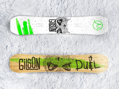 Gilson Snowboards 2020 typogaphy dual duel cat grit texture design digital snow snowboards illustration