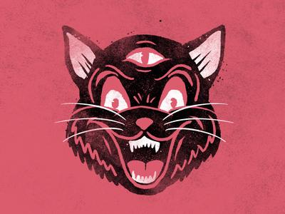 inktober4 inktober grit texture third eye cat halloween illustration inktober2019