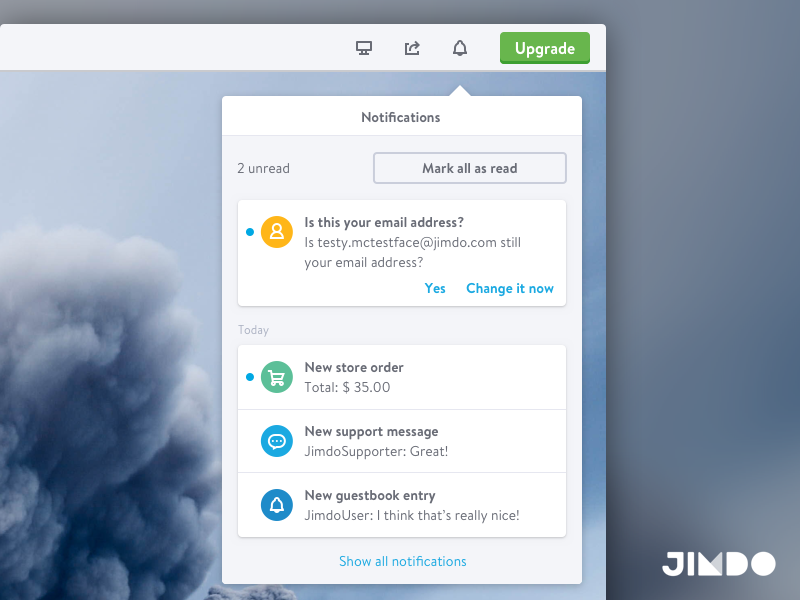 Notification Panel jimdo productdesign ui ux icons website panel messages notifications
