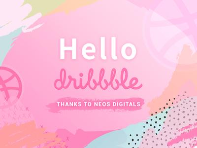 Hello Dribbble paint pink illustration dribbble hello