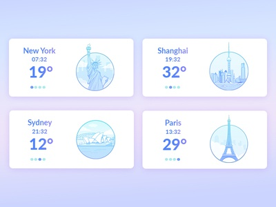 City Icons new york paris sydney shanghai ux ui design purple flat picto city cities