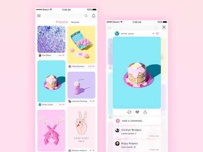 Pictures - Home Page and Pop-up App app page main pop-up smartphone mobile picture colors design ui ux