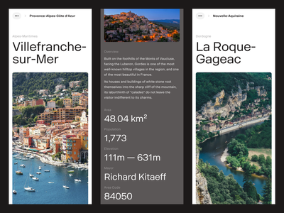 Villages In France — Directory detail breadcrumbs mobile ui typography editorial layout stats mobile app mobile