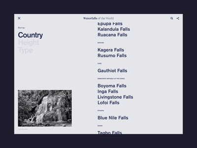 Waterfalls Of The World typography grid detail detail page list page index list user experience uiux user interface ui waterfalls yosemite landing