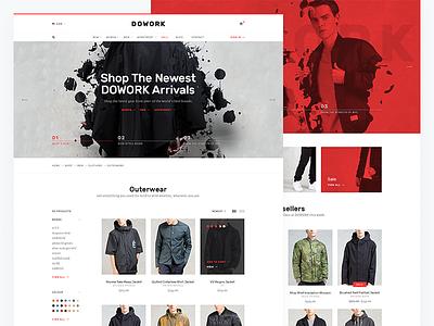 DOWORK Ecommerce UI Kit 1 sidebar widget hypebeast kit product page online shop ui design ui kit fashion ecommerce user interface