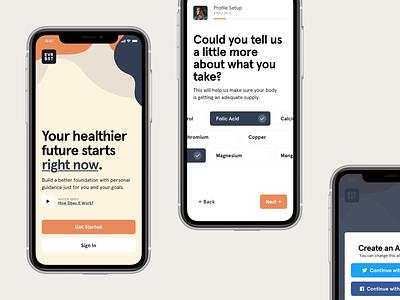 EVRBST pastel survey quiz onboarding walkthrough health mob mobile app design native application app ios apple