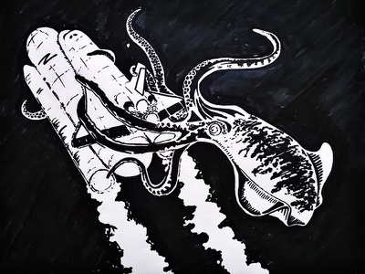 Space Squid space ship illustration squid attacking ship