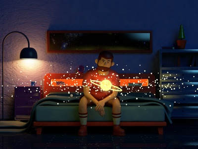 stars sad lonely galaxy universe night dark bed moon shinning light roommate magic illustrator halo c4d planet sun beard 3d