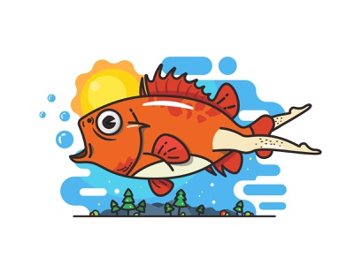 fish sky tree bubble funny sexy gay leg blue orange sun big eyes sea fish art line cute iiiustration