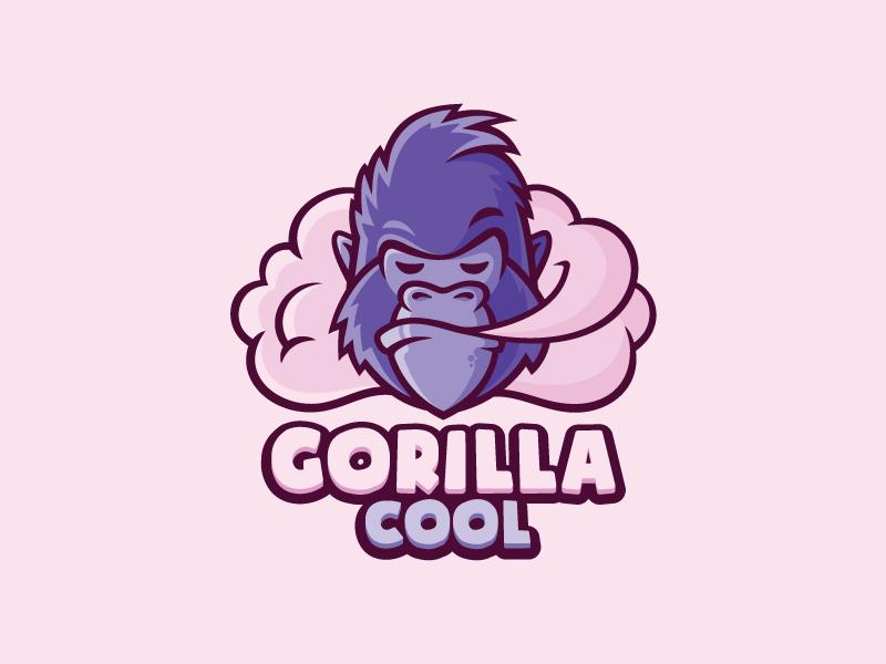 Gorilla Cool  sale smoke character mascote logo shop vape gorilla