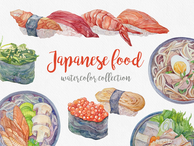 Japanese food. Watercolor collection restaurant menu seafood roll japanese sushi watercolor illustration