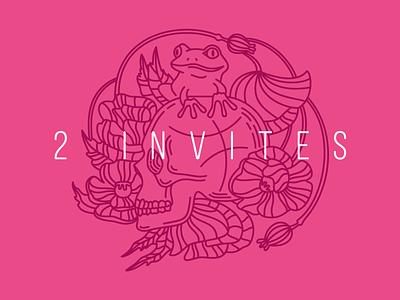 2x Dribble Invites ball illustration outline poppy frog skull pink invitation invite