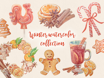 Winter watercolor collection christmas winter cookies candy gingerbread cinnamon spices illustration watercolor