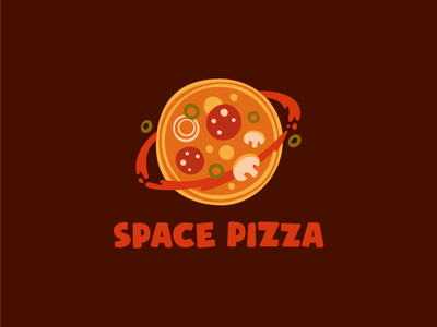Space pizza cafe logotype food flat space planet pizza logo