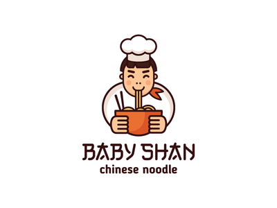 Baby Shan character chef mascot noodle food logotype logo