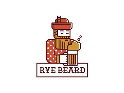 Rye beard  dot polka rye character mascot man bar pub brewery beer beard logo