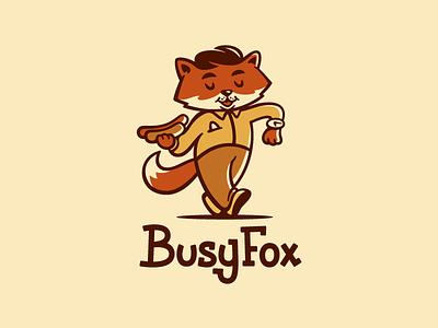 Busy Fox character illustration sale fastfood hotdog busy logotype animal mascot fox logo