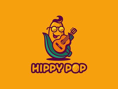 Hippy pop vegetable plant popcorn character mascot hippy retro guitar corn logotype logo