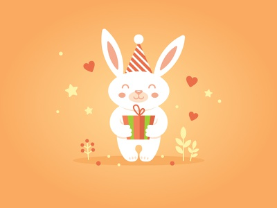 Happy birthday! mascot love gift sunny birthday rabbit illustration
